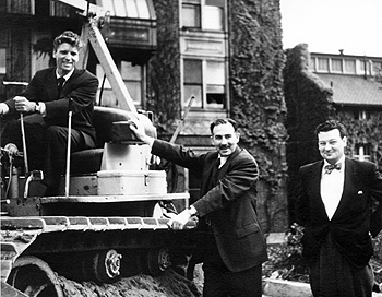 Groundbreaking (1949) for Jimmy Fund Building; note Burt Lancaster at left