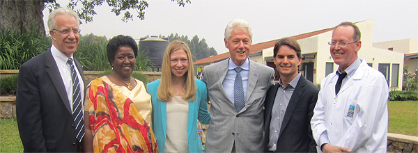 Left to right: Lawrence Shulman, MD, Presidential Scholar, Center for Global Cancer Medicine; Agnes Binagwaho, MD, PhD, Rwandan Minister of Health; Chelsea Clinton, MPH, MPhil, DPhil; Bill Clinton, former U.S. President, current president, Clinton Foundation; Jeff Gordon, professional stock car racing driver, president, Jeff Gordon Children's Foundation; Paul Farmer, MD, PhD, co-founder, Partners In Health.