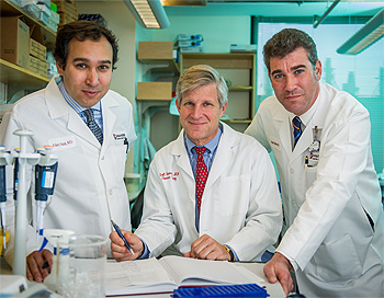 Specialists in the Center for Esophageal and Gastric Cancer include (from left to right): Adam Bass, MD; Scott Swanson, MD; and Peter Enzinger, MD.