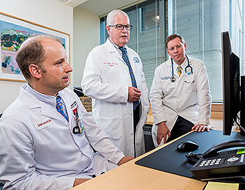 Thyroid Cancer Center team leaders Jochen Lorch, MD, MS, Francis Moore, Jr., MD, and Erik Alexander, MD
