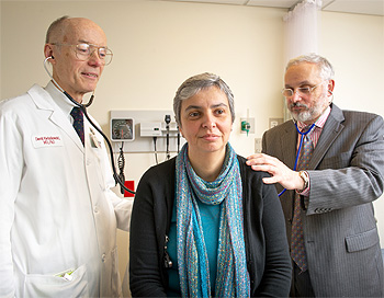 Manuela Correia with members of her clinical team: Dr. David Kwiatkowski (left) and Dr. Raphael Bueno (right).