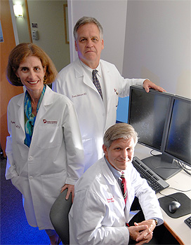 Lung cancer specialists, from left: Dr. Elizabeth Baldini, Radiation Oncologist; Dr. Bruce Johnson, Medical Oncologist; and Dr. Scott Swanson, Thoracic Surgeon.