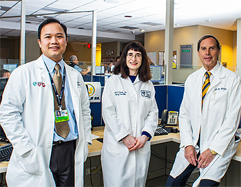 Testicular Cancer Treatment Center team members Steven Chang, MD, MS, Urology; Carol Benson, MD, Radiology; Jerome Richie, MD, Urology