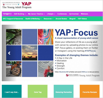 screenshot of the YAP@DFCI website