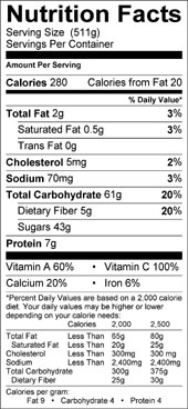 apricot orange smoothie nutrition facts