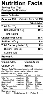 black bean and walnut brownie nutrition facts