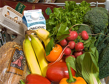 shopping cart with healthy foods