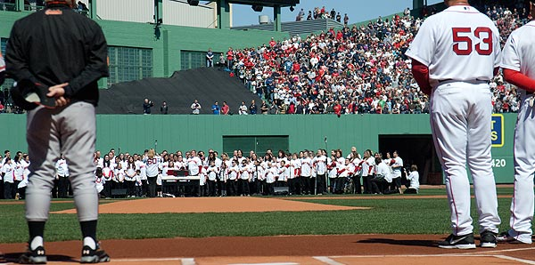Jimmy Fund Chorus performing at Fenway Park