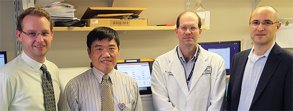 From left to right: Michael Kluk, MD, PhD, Frank Kuo, MD, Jon Aster, MD, and Coleman Lindsley, MD, PhD