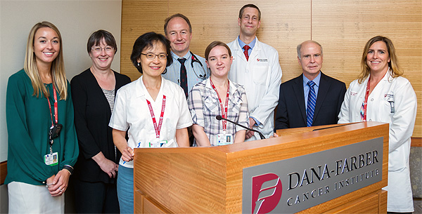 Paul Richardson, MD (fourth from left), and his colleagues tested the drug daratumumab in patients with multiple myeloma.  Contributors to the research include from the left: Randie White, Diane Warren, Yu-Tzu Tai, PhD, Rebecca Lieberman, Jacob Laubach, MD, MPP, Kenneth Anderson, MD and Kristen Cummings, RN, BSN.