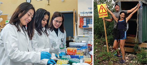 At left, Emily Su, Shruti Bhatt, PhD, and Jing Deng, PhD, work in the laboratory of Anthony Letai, MD, PhD. At right, patient Roy Jann enjoys the great outdoors with his wife, Karen Boch.