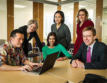 Researchers in the Division of Population Sciences include (left to right): Hajime Uno, PhD; Alexi Wright, MD, MPH; Rinaa S. Punglia, MD, MPH; Aileen B. Chen, MD, MPP; Christina K. Ullrich, MD, MPH; and Michael Hassett, MD, MPH.