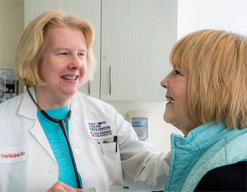 Ursula Matulonis, MD, with a patient