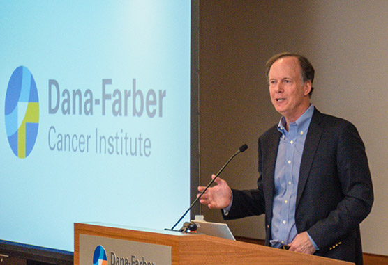William Kaelin at the Nobel Prize press conference at Dana-Farber