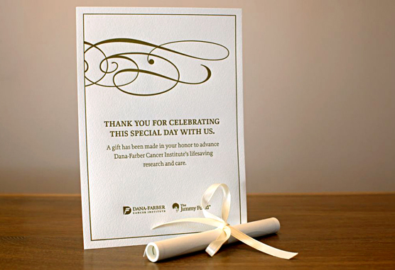 Dana-Farber wedding favor scroll sample