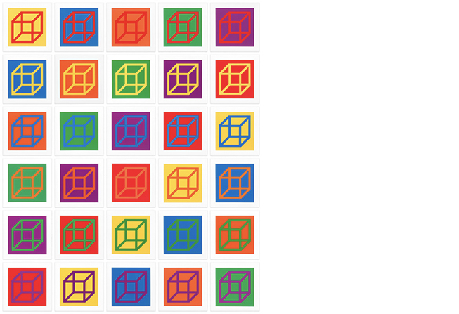 Open Cube in Color on Color by Sol LeWitt