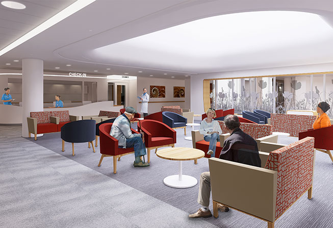 Dana-Farber Cancer Institute - Chestnut Hill waiting room rendering
