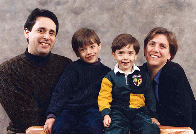 Debby Rosoff with her husband and two sons