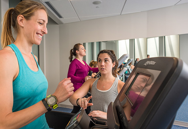 Zakim Center exercise class with treadmills