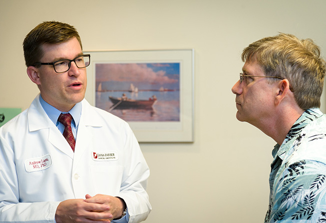 Andrew Lane, MD, PhD, Director of the BPDCN Center, consults with a patient