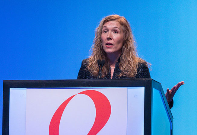 Jennifer Ligibel, MD, at SABCS in 2018