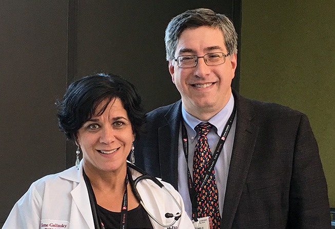 Hematologic Oncology nurse Ilene Galinsky, BSN, NP, and physician Daniel DeAngelo, MD, PhD