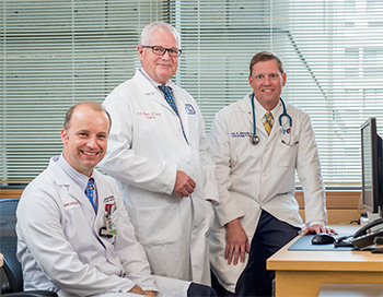 Thyroid Cancer Center leaders, from left: Jochen Lorch, MD, MS; Francis D. Moore Jr., MD; Erik K. Alexander, MD