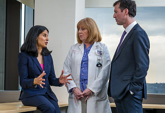 Sara Tolaney, MD, MPH (left), Margaret Haldoupis, RN, and Ian Krop, MD, PhD