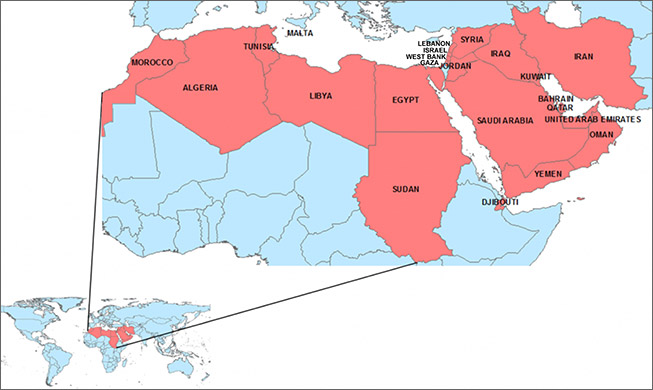 SHE Center map of Middle East and North Africa countries