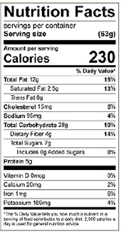 Banana Breakfast Bites nutrition label