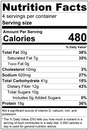 Butternut Squash and Bean Salad recipe nutrition label