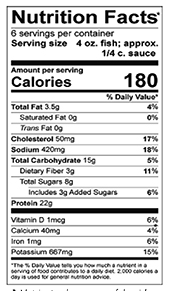 Escabeche Sweet and Sour White Fish nutrition label