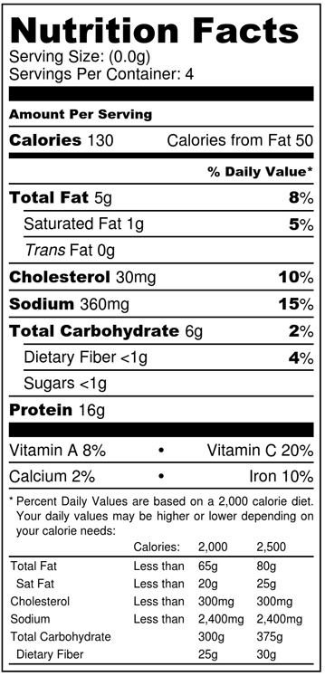 Mediterranean Tuna Salad nutrition label