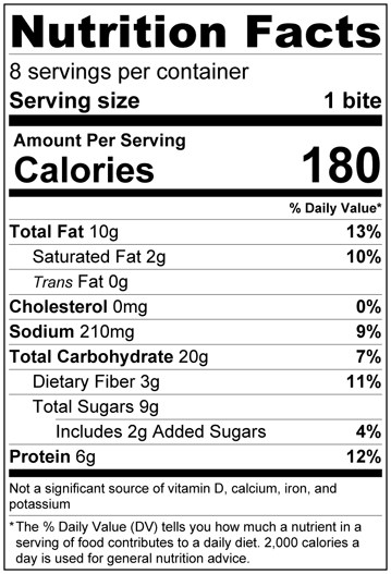 Oatmeal Energy Bites nutrition label