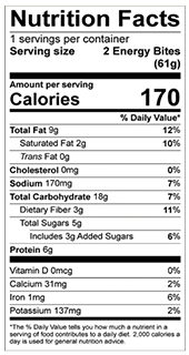 Peanut Butter Energy Bites nutrition label