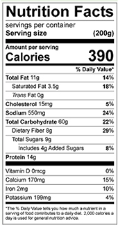 Red Pepper Farro Salad nutrition label