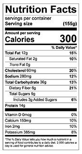 Spice Protein Pancakes nutrition label
