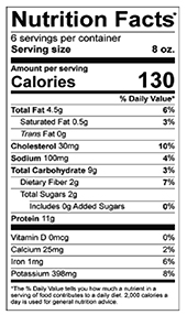 Tinola Ginger and Chicken Soup nutrition label