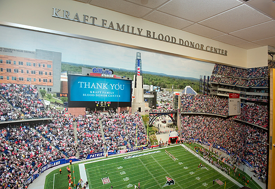 replica of Gillette Stadium at Kraft Family Blood Donation Center