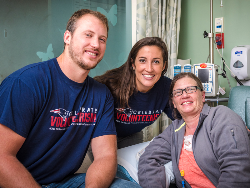 Nate Solder and his wife Lexi Allen with Rhonda A. Rutkowski