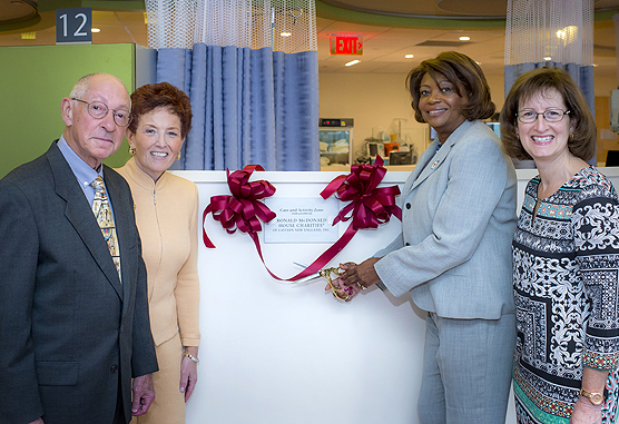 A ribbon-cutting event for space funded by Ronald McDonald House Charities of Eastern New England, Inc.