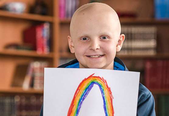 Tommy, 10, a patient at Dana-Farber's Jimmy Fund Clinic