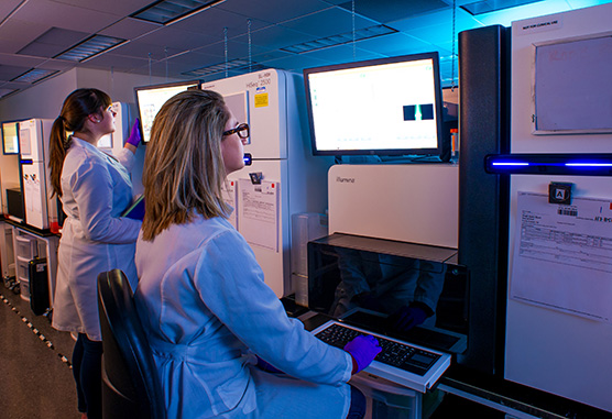 researchers at computers in a lab